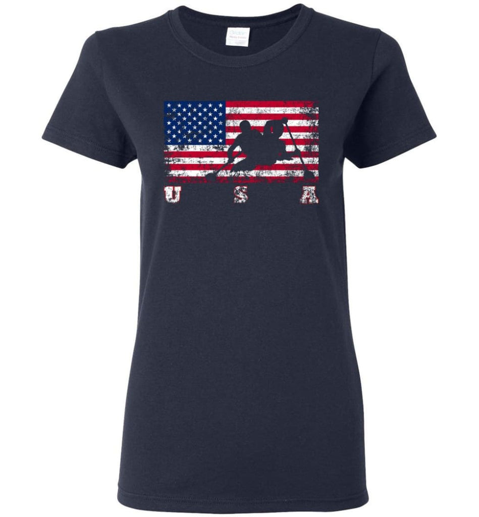 American Flag Canoe Sprint Women Tee - Navy / M