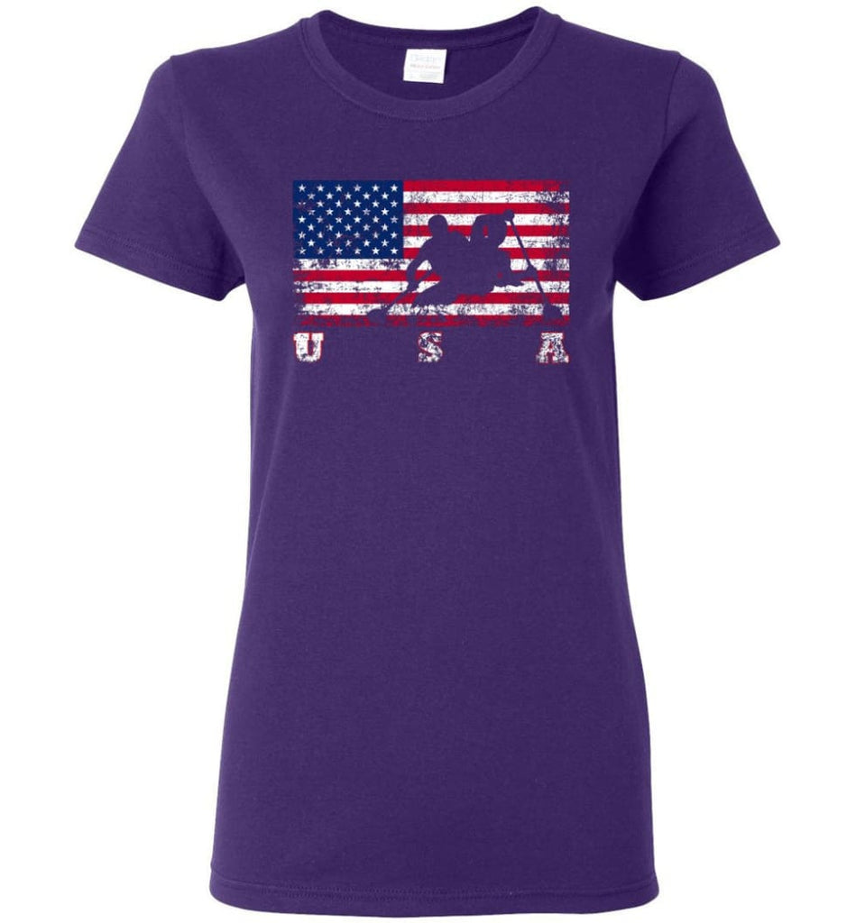 American Flag Canoe Sprint Women Tee - Purple / M
