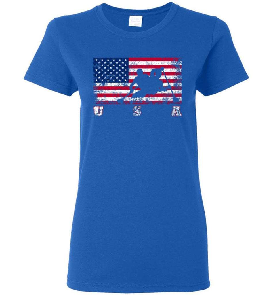American Flag Canoe Sprint Women Tee - Royal / M