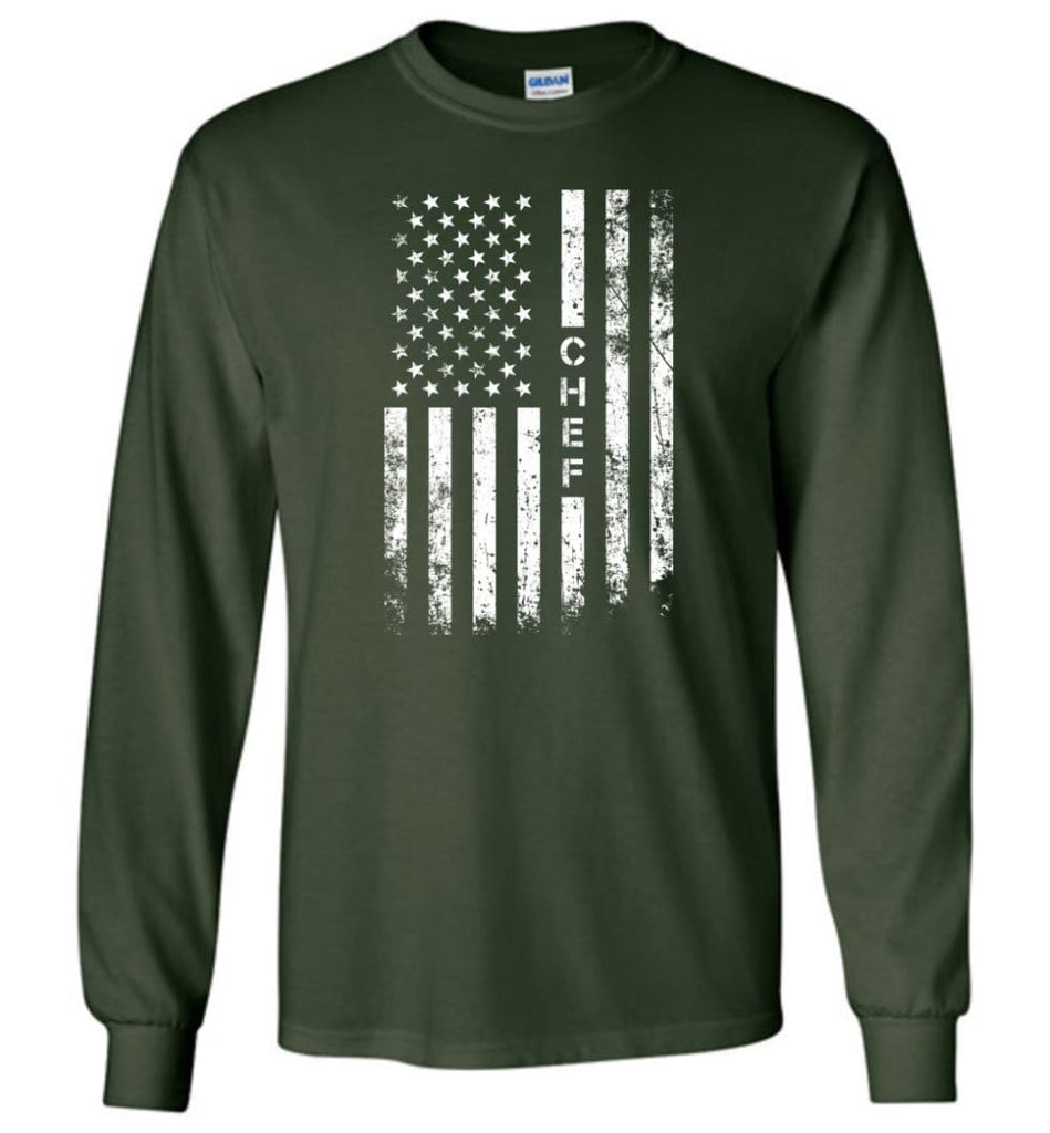 American Flag Chef Long Sleeve - Forest Green / M