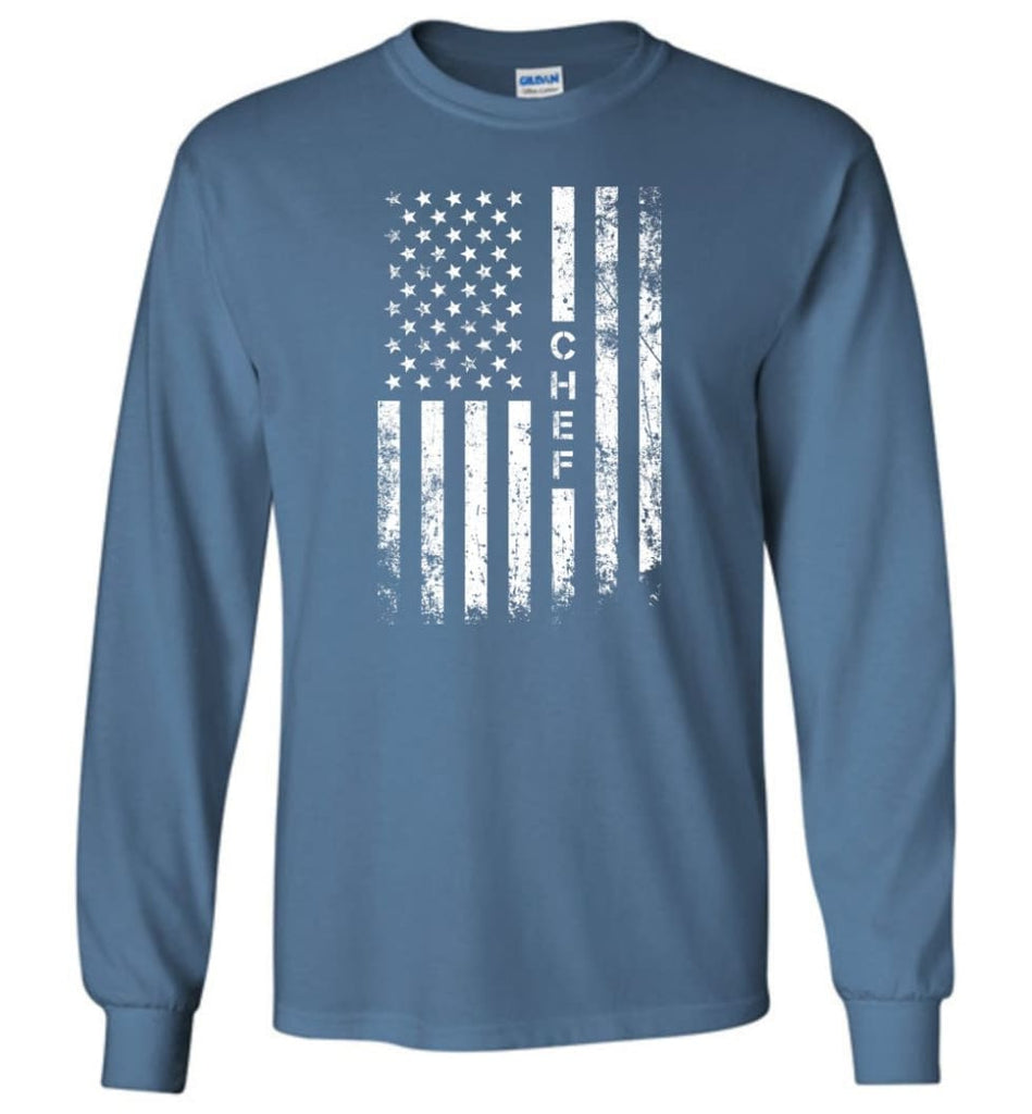 American Flag Chef Long Sleeve - Indigo Blue / M