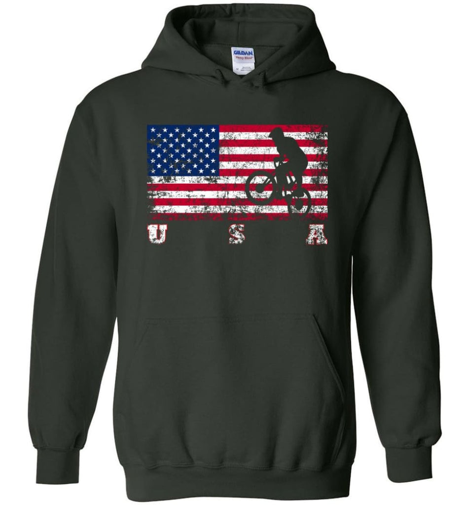 American Flag Cycling BMX - Hoodie - Forest Green / M