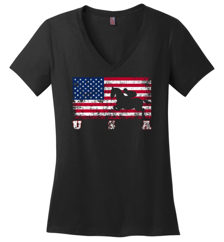 American Flag Cycling BMX Ladies V-Neck - Black / M
