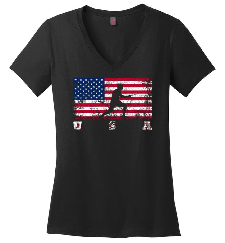 American Flag Cycling Mountain Bike Ladies V-Neck - Black / M