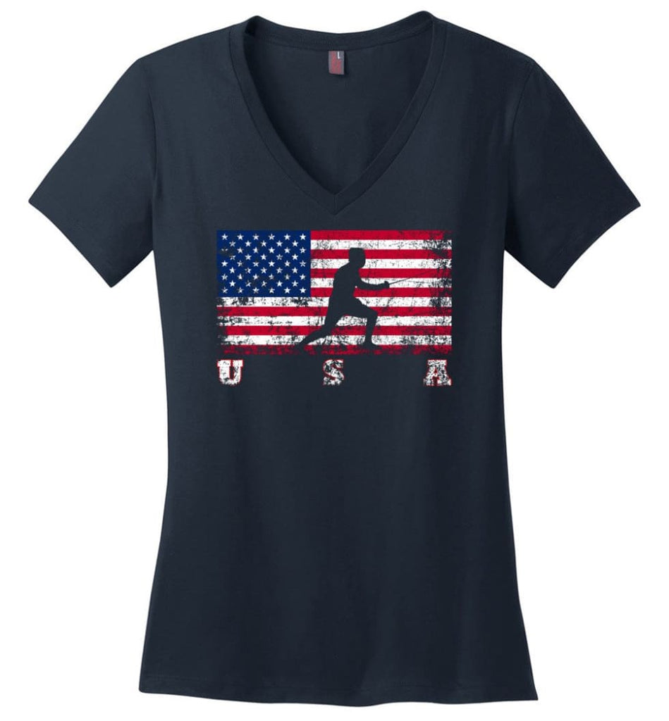 American Flag Cycling Mountain Bike Ladies V-Neck - Navy / M