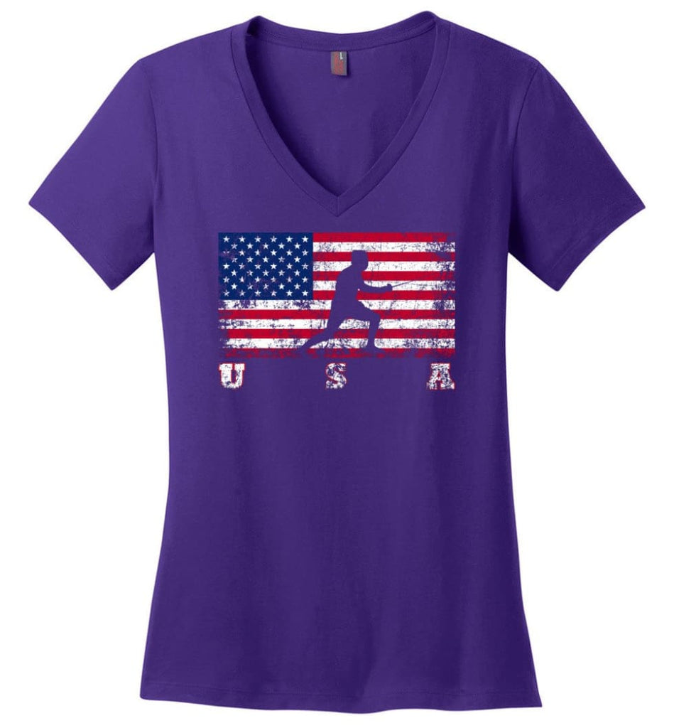 American Flag Cycling Mountain Bike Ladies V-Neck - Purple / M