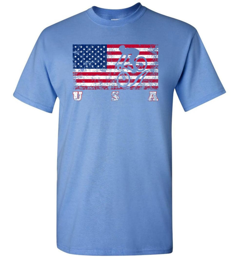 American Flag Cycling Mountain Bike - Short Sleeve T-Shirt - Carolina Blue / S