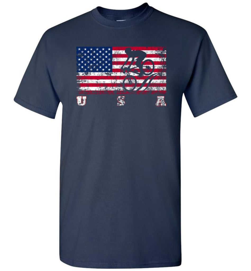 American Flag Cycling Mountain Bike - Short Sleeve T-Shirt - Navy / S