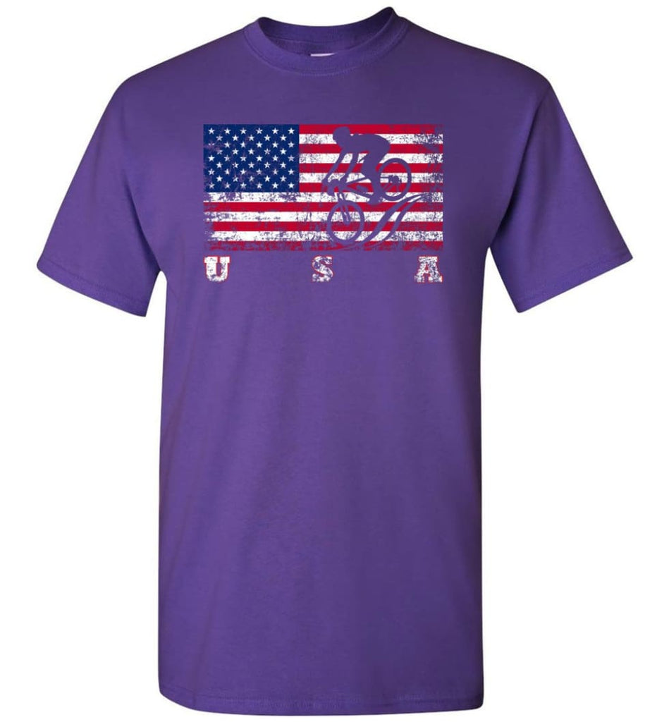 American Flag Cycling Mountain Bike - Short Sleeve T-Shirt - Purple / S