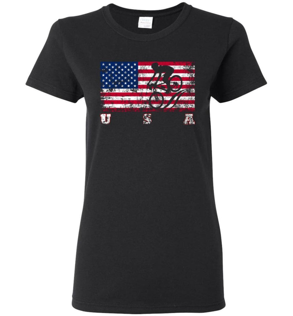 American Flag Cycling Mountain Bike Women Tee - Black / M