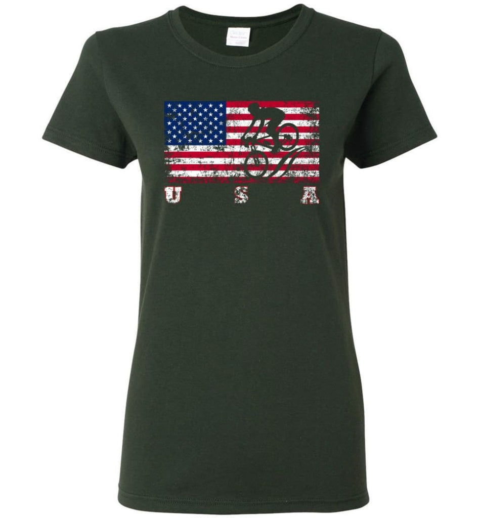 American Flag Cycling Mountain Bike Women Tee - Forest Green / M