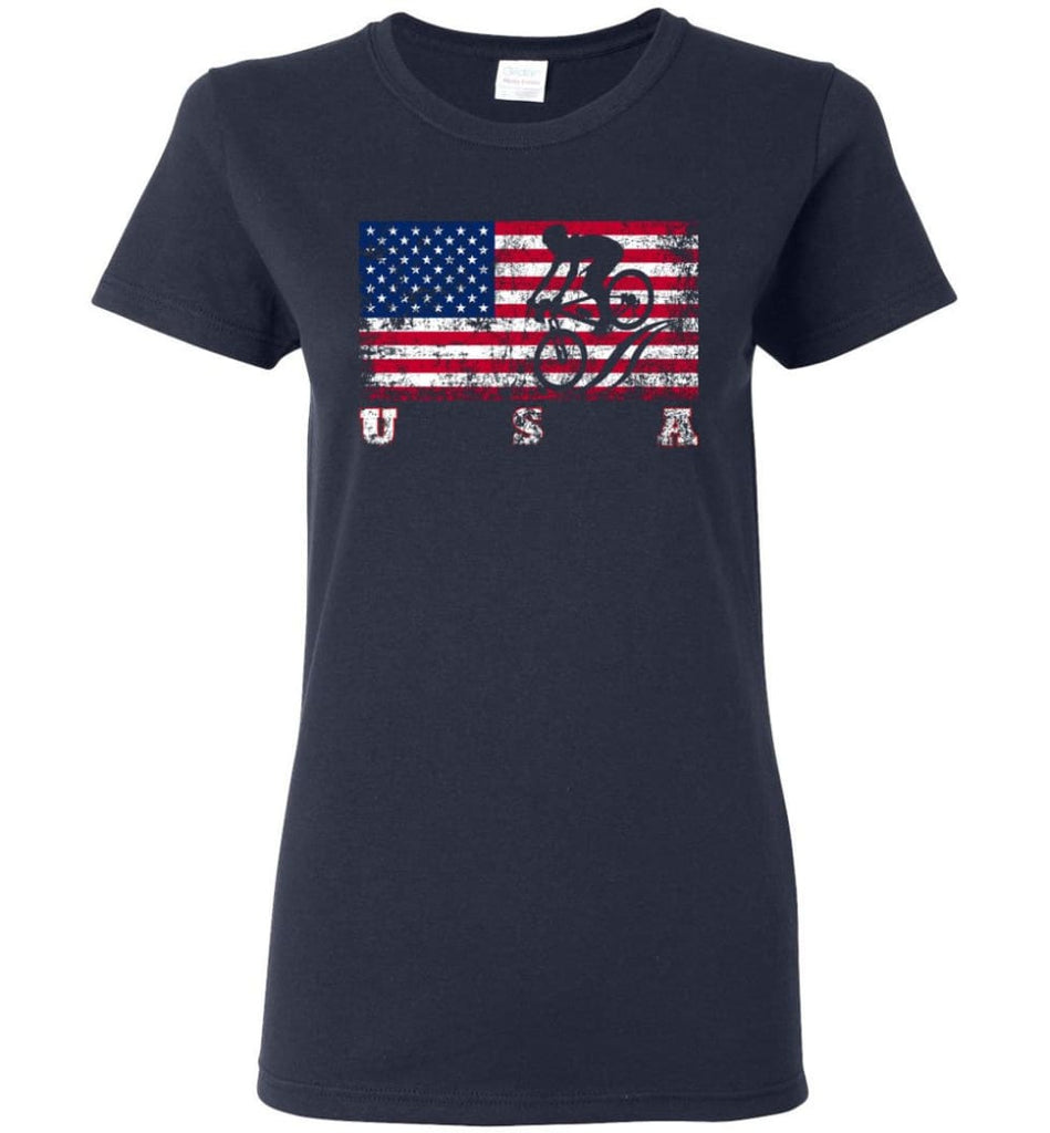 American Flag Cycling Mountain Bike Women Tee - Navy / M
