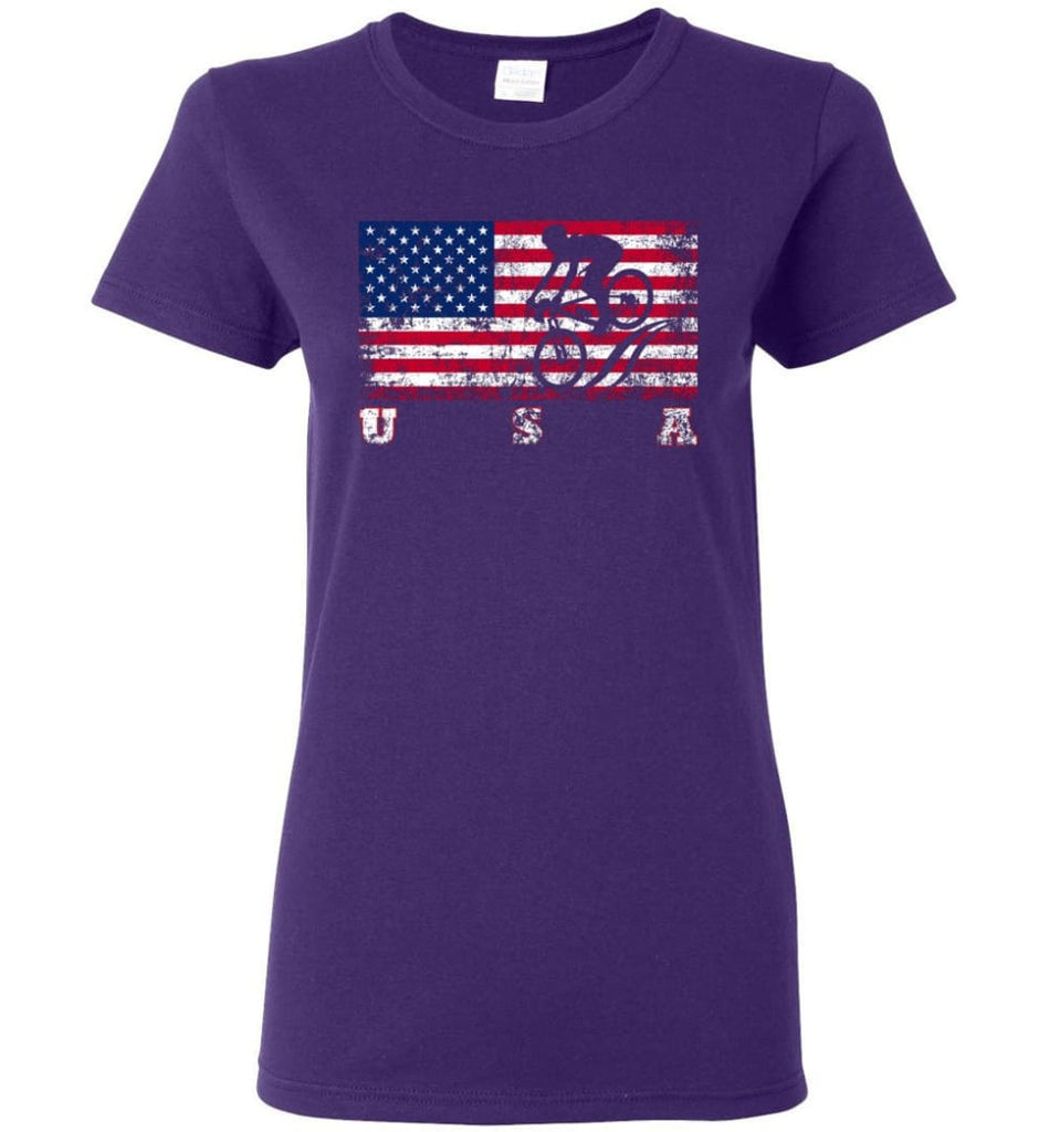American Flag Cycling Mountain Bike Women Tee - Purple / M