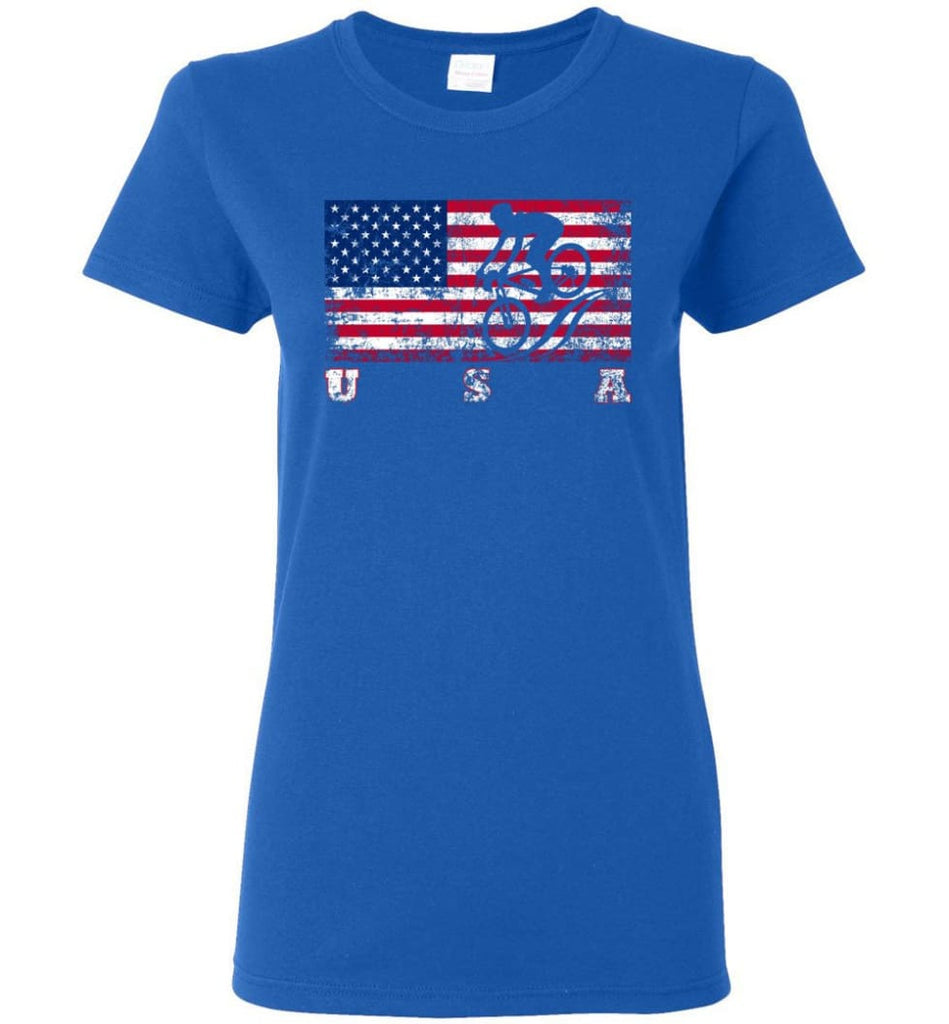 American Flag Cycling Mountain Bike Women Tee - Royal / M