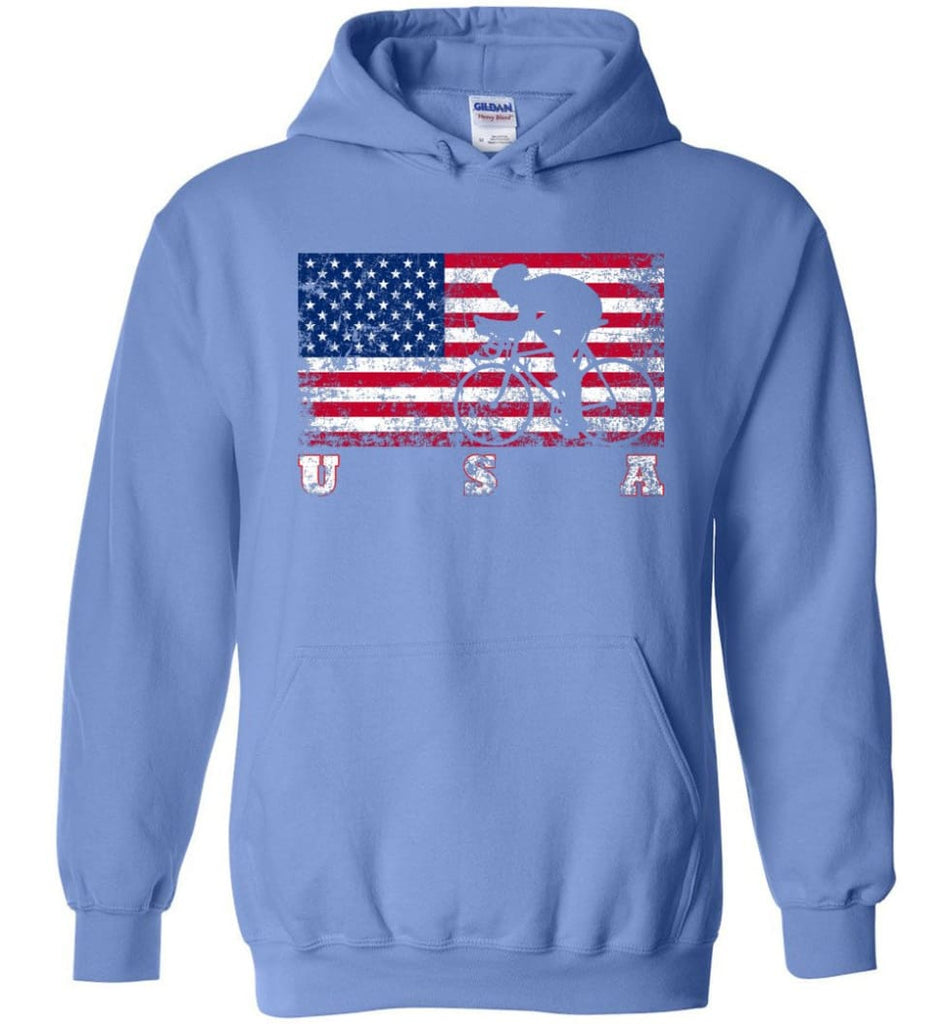 American Flag Cycling Road - Hoodie - Carolina Blue / M