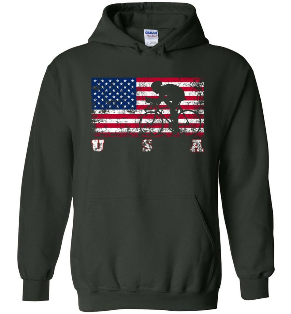 American Flag Cycling Road - Hoodie - Forest Green / M