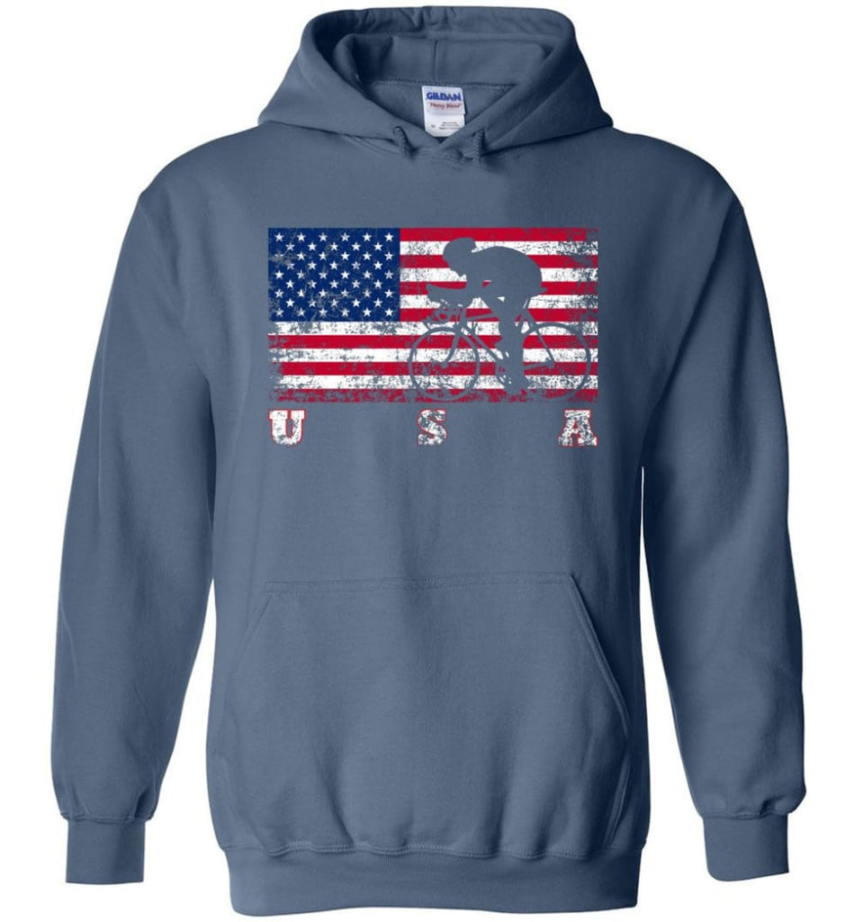 American Flag Cycling Road - Hoodie - Indigo Blue / M