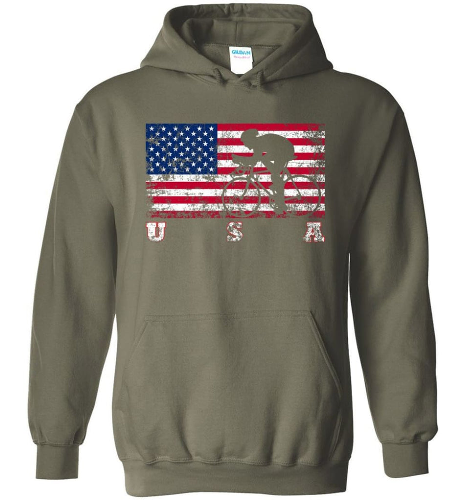 American Flag Cycling Road - Hoodie - Military Green / M