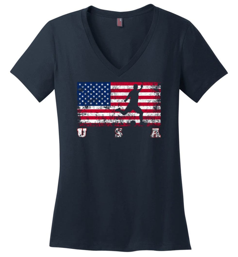 American Flag Cycling Road Ladies V-Neck - Navy / M