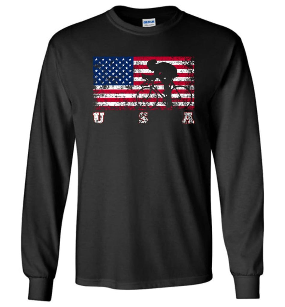 American Flag Cycling Road - Long Sleeve T-Shirt - Black / M