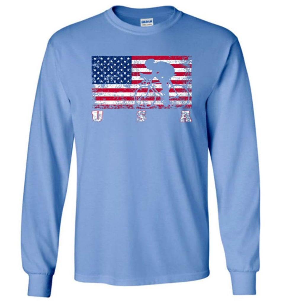 American Flag Cycling Road - Long Sleeve T-Shirt - Carolina Blue / M