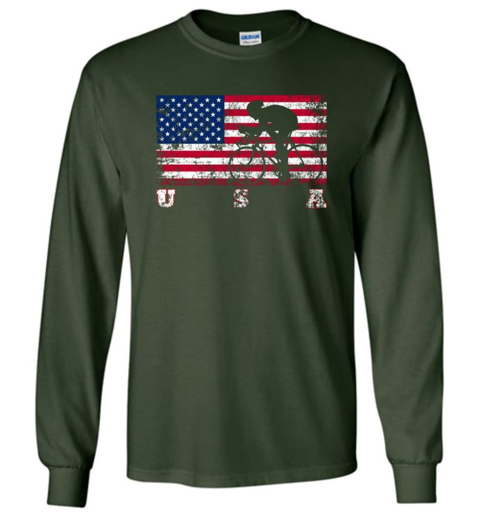 American Flag Cycling Road - Long Sleeve T-Shirt - Forest Green / M