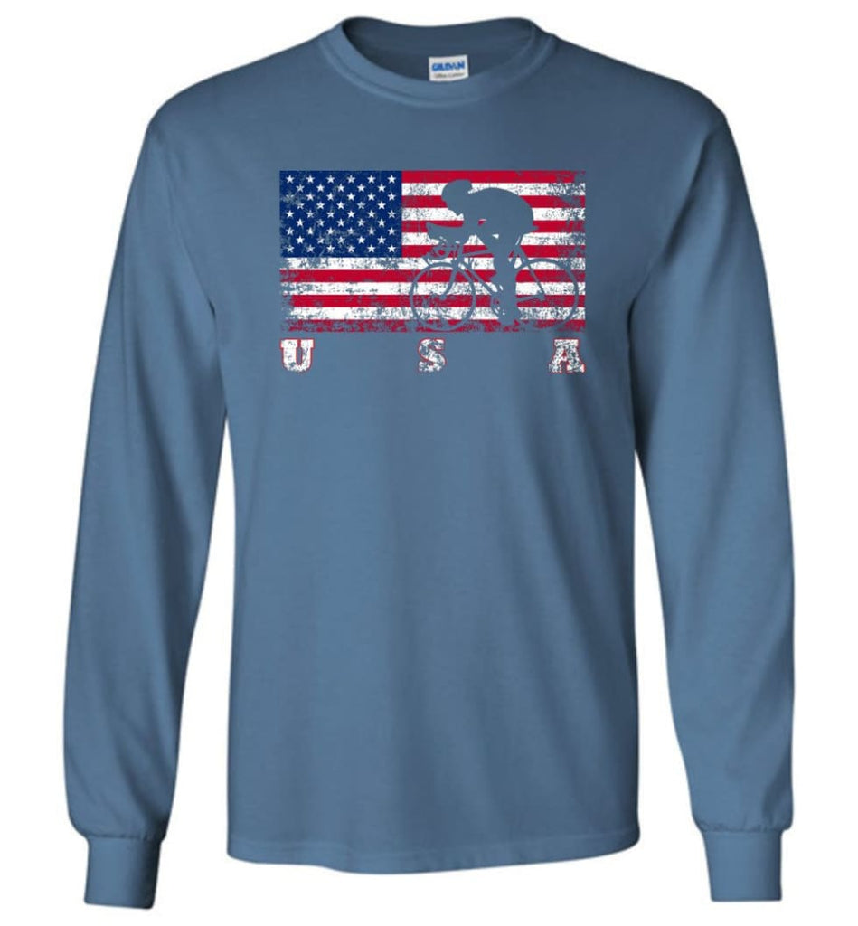 American Flag Cycling Road - Long Sleeve T-Shirt - Indigo Blue / M