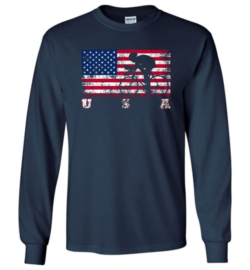 American Flag Cycling Road - Long Sleeve T-Shirt - Navy / M