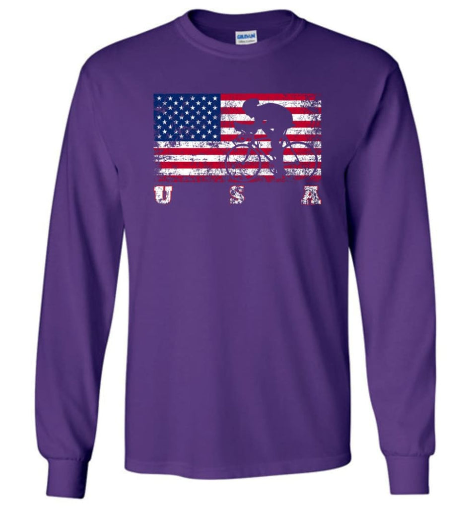 American Flag Cycling Road - Long Sleeve T-Shirt - Purple / M