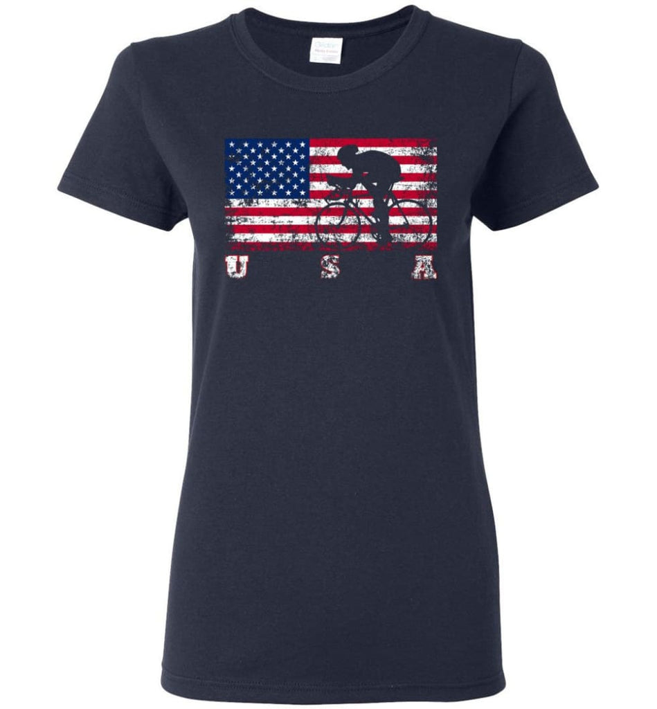 American Flag Cycling Road Women Tee - Navy / M