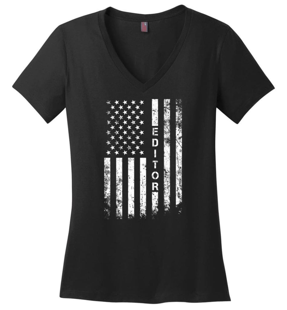 American Flag Dentist Ladies V-Neck - Black / M