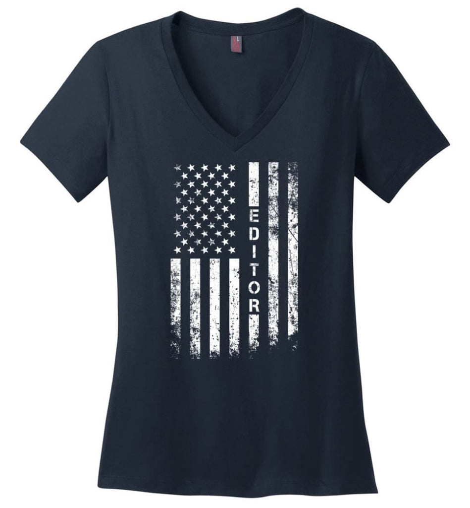 American Flag Dentist Ladies V-Neck - Navy / M