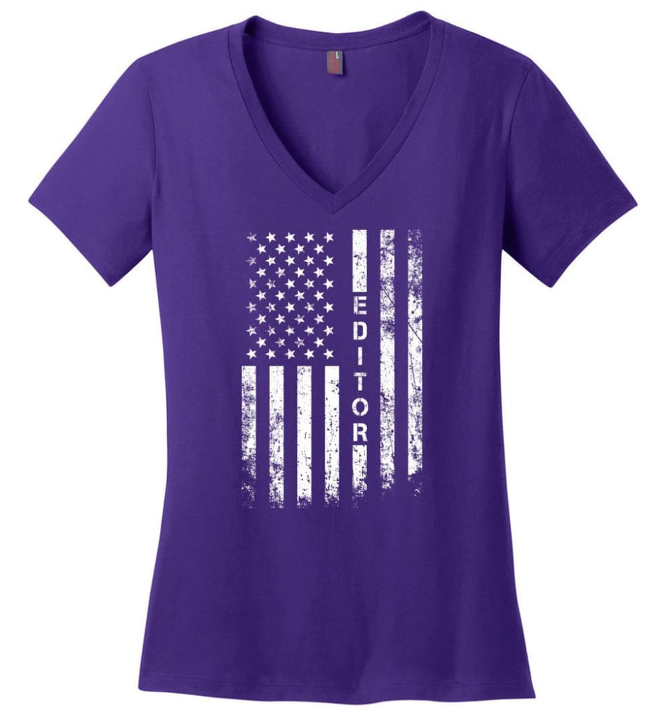 American Flag Dentist Ladies V-Neck - Purple / M
