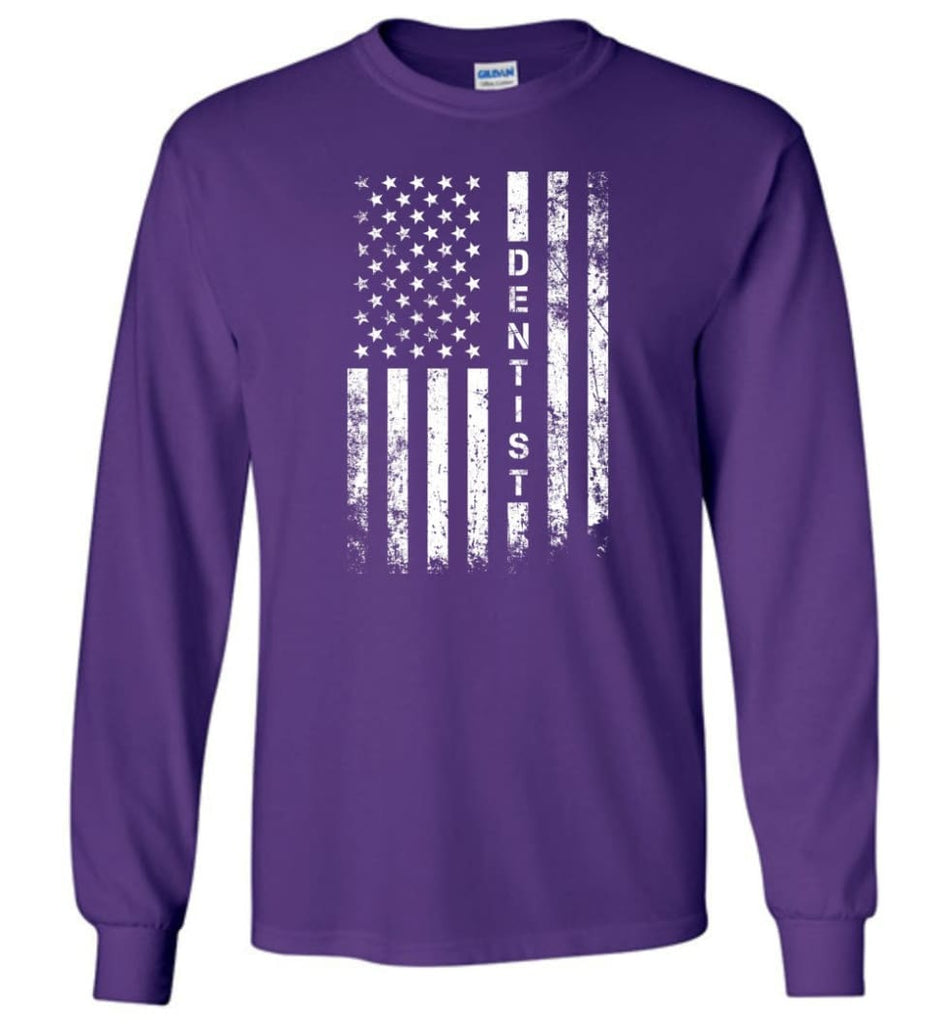 American Flag Dentist - Long Sleeve T-Shirt - Purple / M