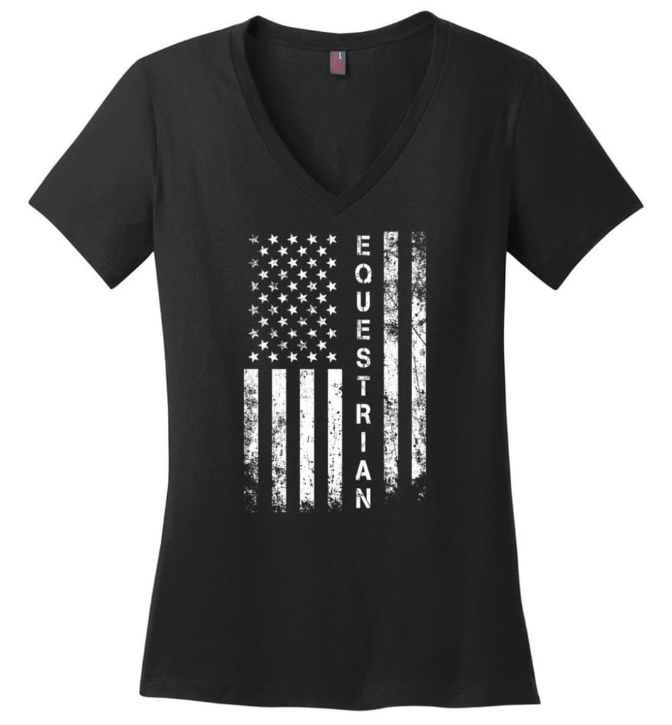 American Flag Detective Ladies V-Neck - Black / M