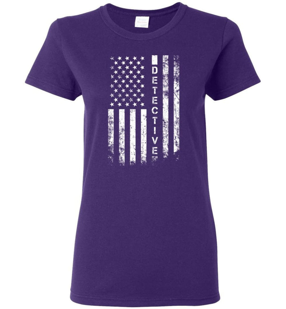 American Flag Detective Women Tee - Purple / M