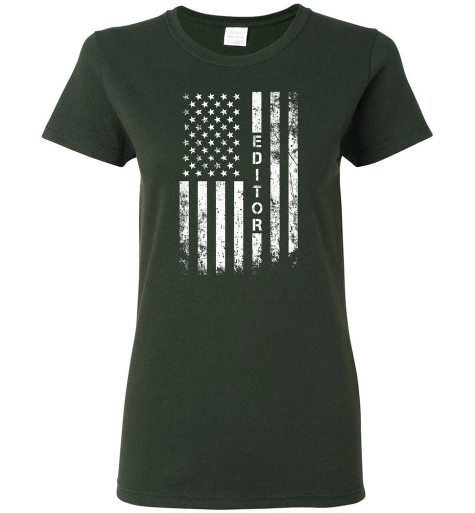 American Flag Editor Women Tee - Forest Green / M