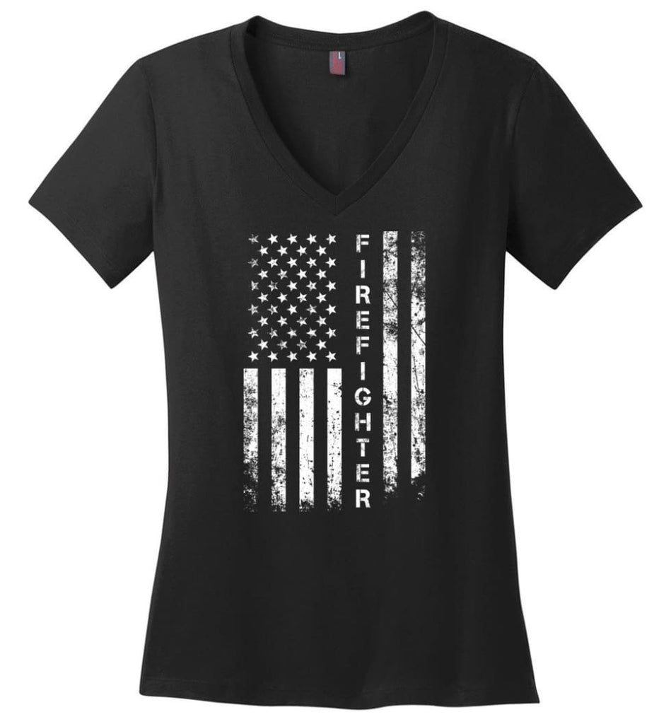 American Flag Electrician Ladies V-Neck - Black / M