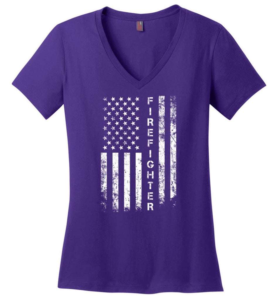 American Flag Electrician Ladies V-Neck - Purple / M