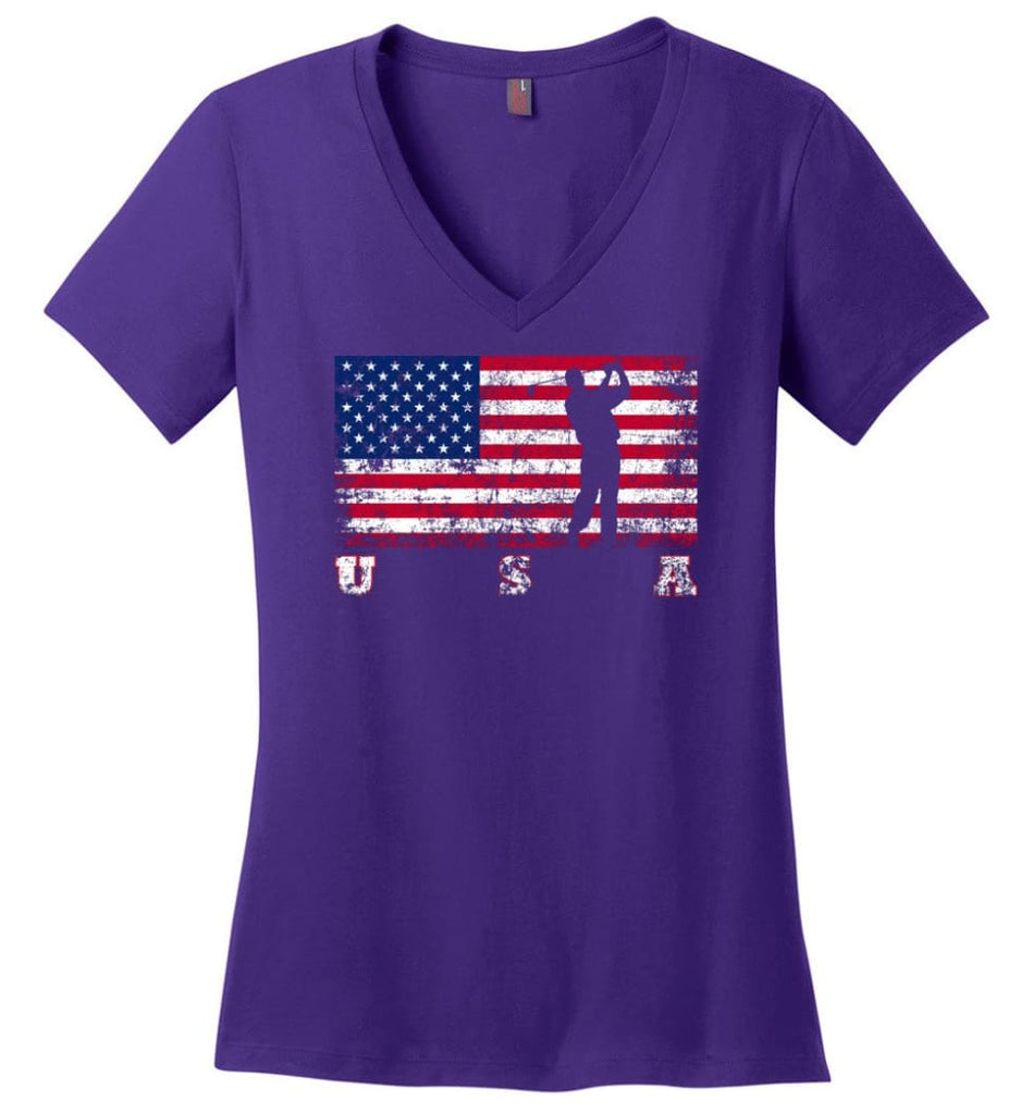 American Flag Equestrian Ladies V-Neck - Purple / M
