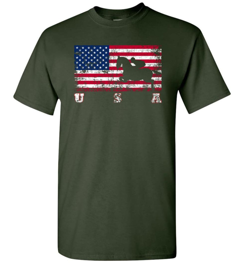 American Flag Equestrian - Short Sleeve T-Shirt - Forest Green / S