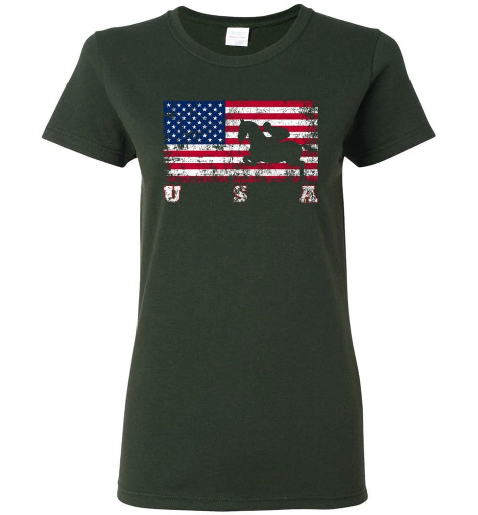 American Flag Equestrian Women Tee - Forest Green / M