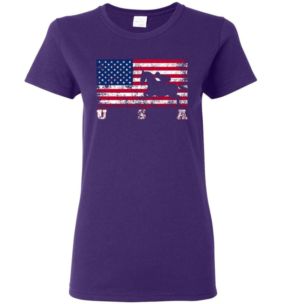 American Flag Equestrian Women Tee - Purple / M