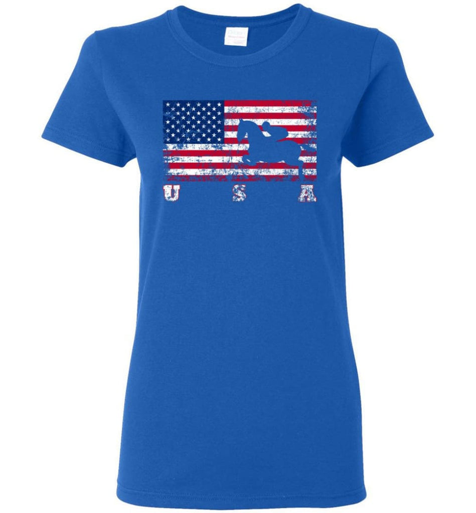 American Flag Equestrian Women Tee - Royal / M
