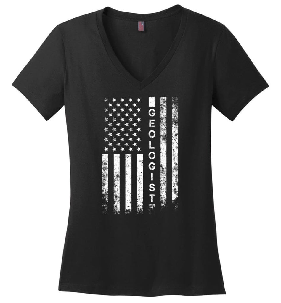 American Flag Farmer Ladies V-Neck - Black / M