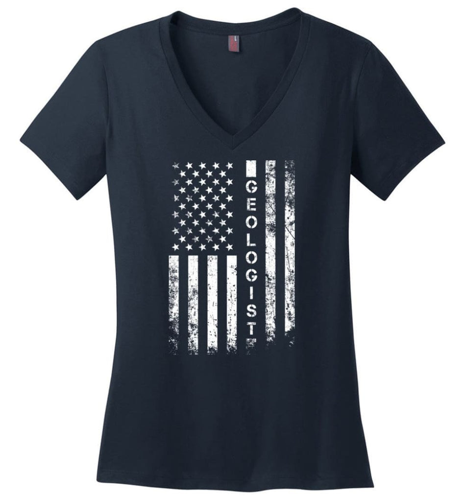 American Flag Farmer Ladies V-Neck - Navy / M