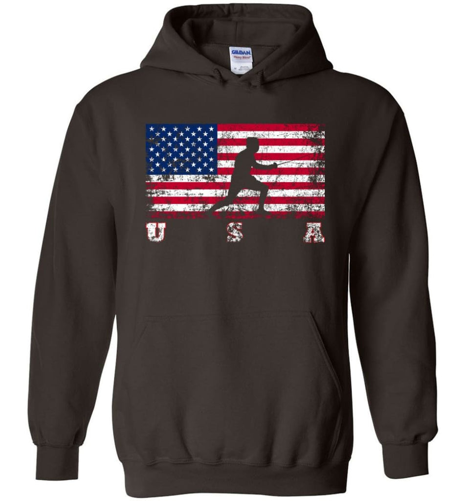 American Flag Fencing - Hoodie - Dark Chocolate / M