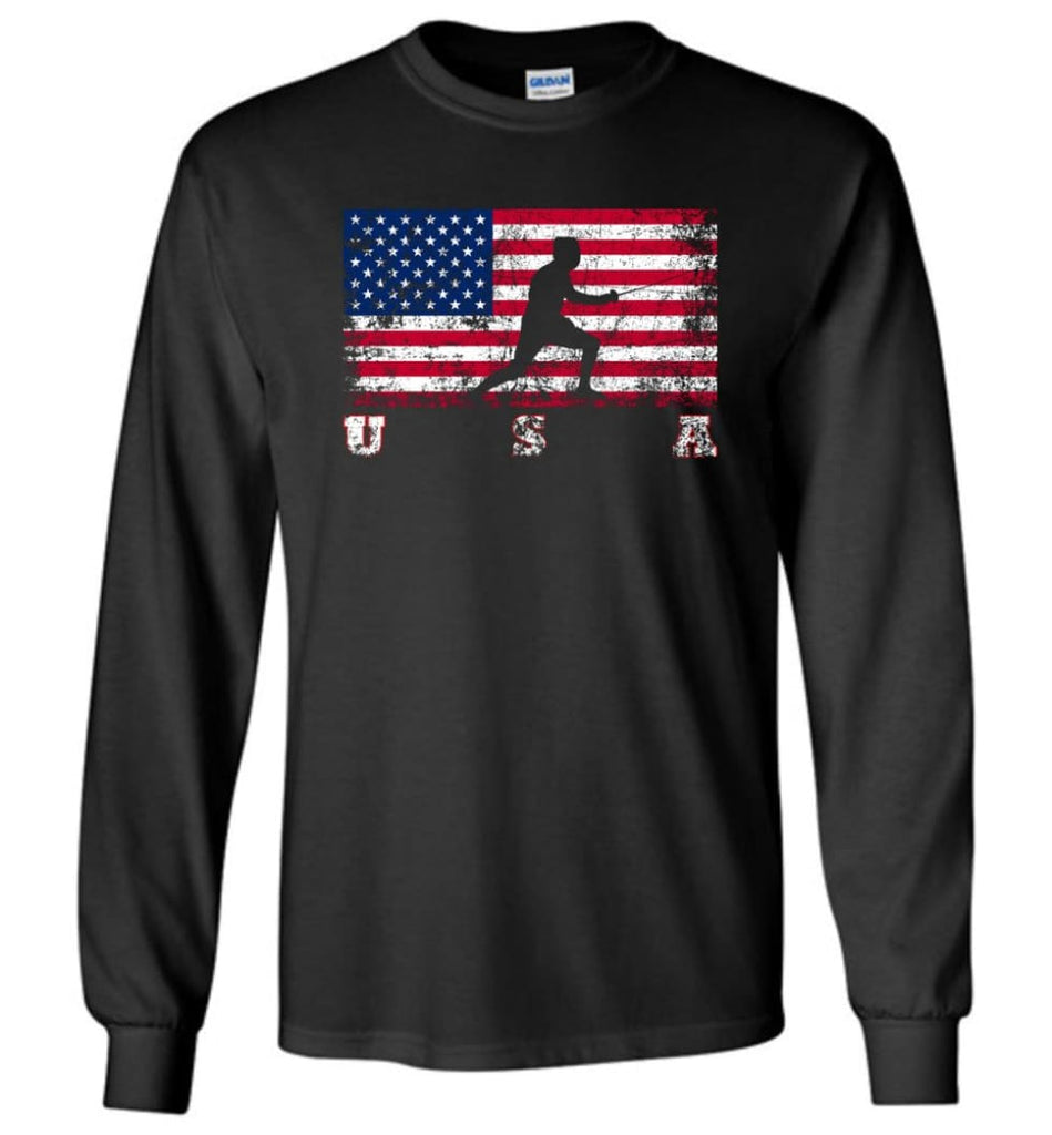 American Flag Fencing - Long Sleeve T-Shirt - Black / M