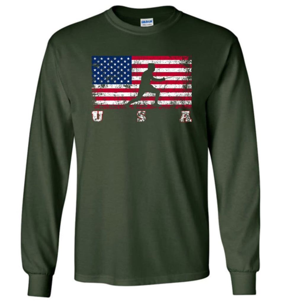 American Flag Fencing - Long Sleeve T-Shirt - Forest Green / M