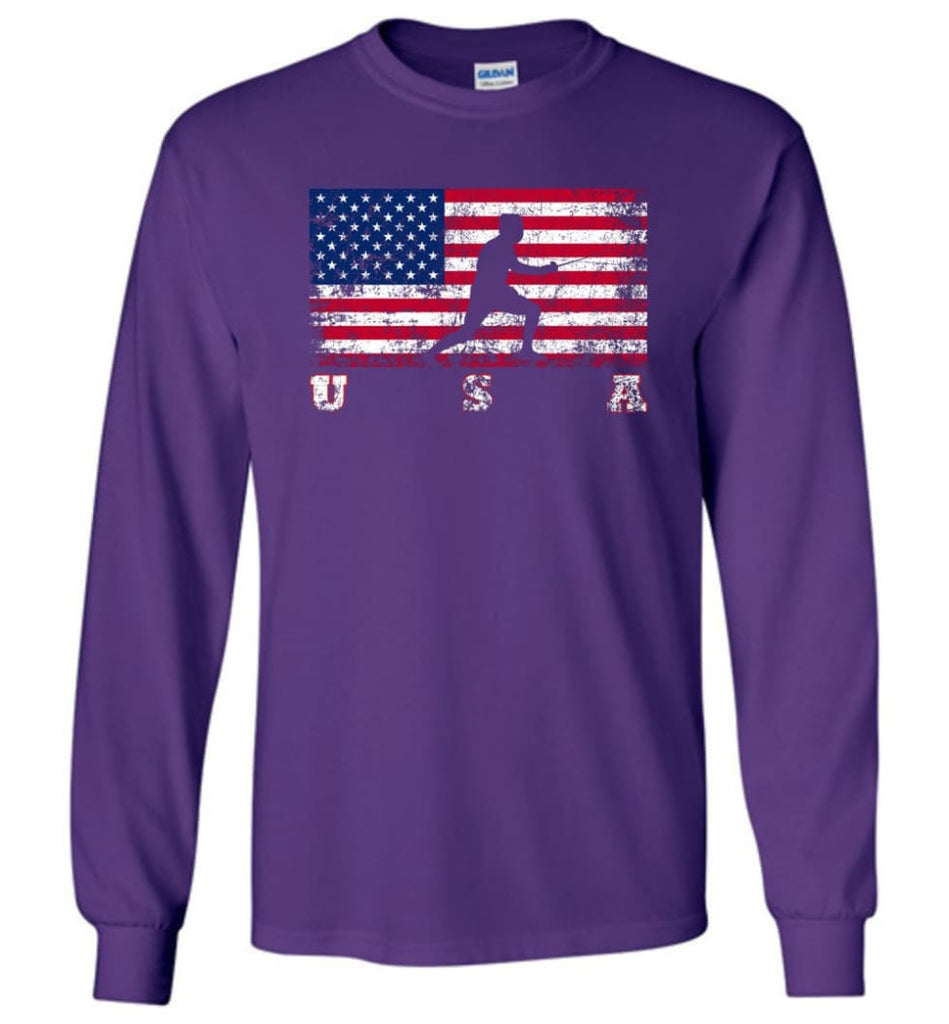 American Flag Fencing - Long Sleeve T-Shirt - Purple / M